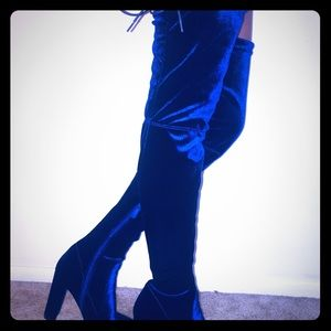 Thigh high lace blue velvet boots